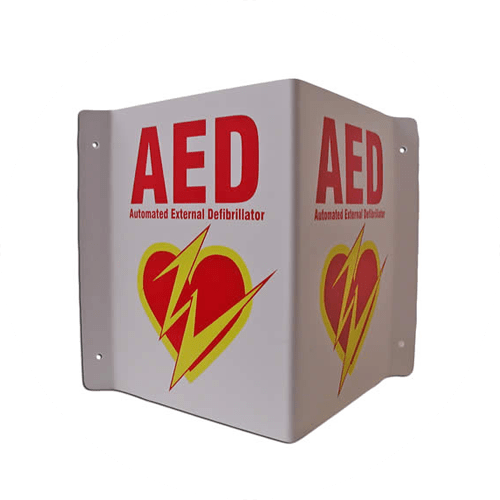 3-Way Sign to clearly mark where an available AED is located