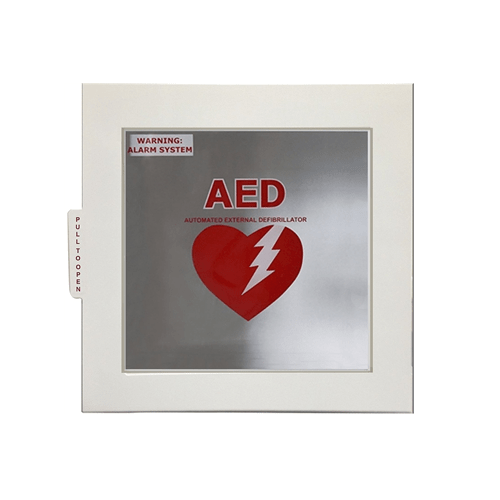 Universal battery powered wall case for an AED