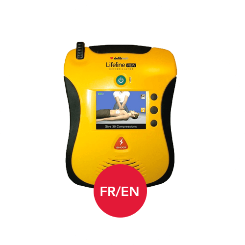 Defibtech Lifeline View AED in French and English Languages