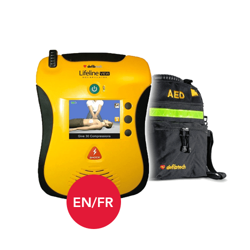 Defibtech Lifeline AED View in English and French Languages with Carrying Case