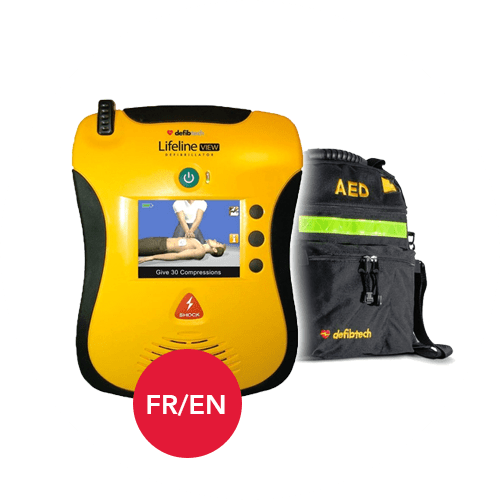 Defibtech Lifeline AED View in French and English Languages with Carrying Case